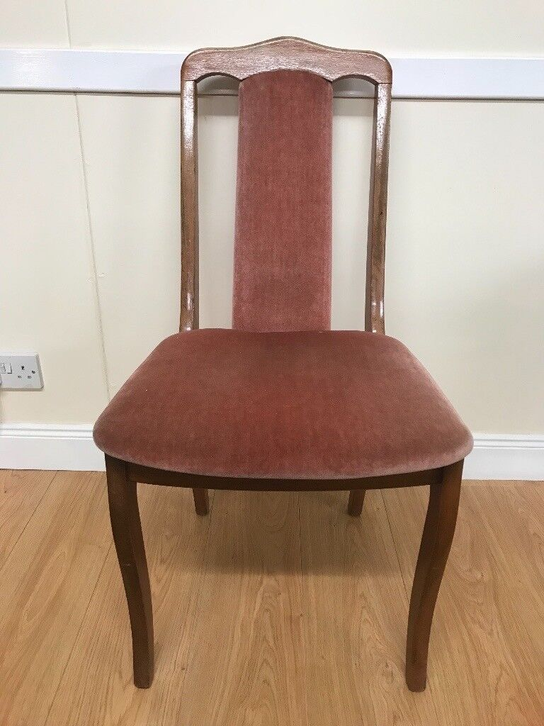 Antique classic style dining chair wooden frame with red upholstery