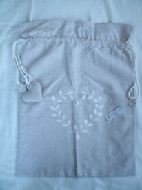 NEW French linen/cotton hand-embroidered drawstring hanging bag, heart motif. Laundry, toys, etc. £4