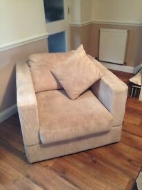 House of frazer cream chair with custion