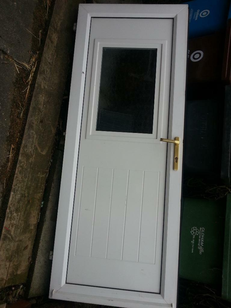 White pvc exterior door and frame with key 77 x for Front door and frame