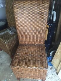 4 woven split cane dining chairs in decent as used condition