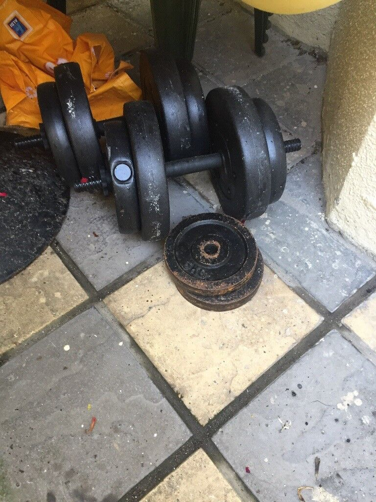 Weights 70kg long bar and dumbbells