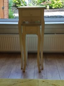 Tall & slim shabby chic nest of tables