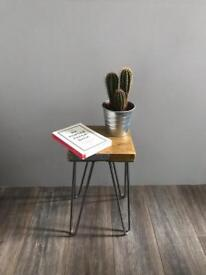 Rustic Industrial Scaffold Wood Side Table with Hairpin legs. Handmade.