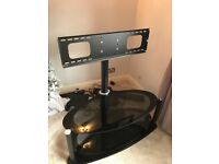 Black oval glass tv stand with bracket - pick up only