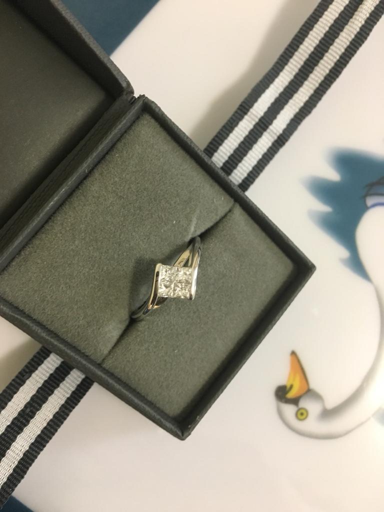18ct White Gold Diamond Engagement Ring .56ct Size