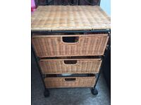 2 X Wicker 3 Drawer Bedroom Cabinets
