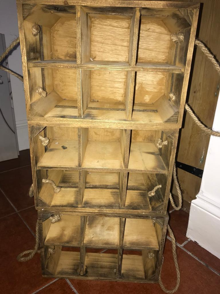 Wooden wine crates shabby chic