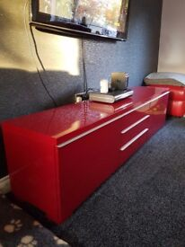 Tv stand storage unit red gloss