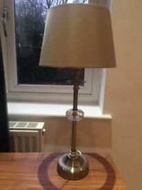 Small brass and crystal table lamp
