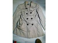 Cream/ black poka dot coat size 10 £1