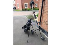 Half set of Ladies' Longridge right-hand golf clubs with bag and trolley