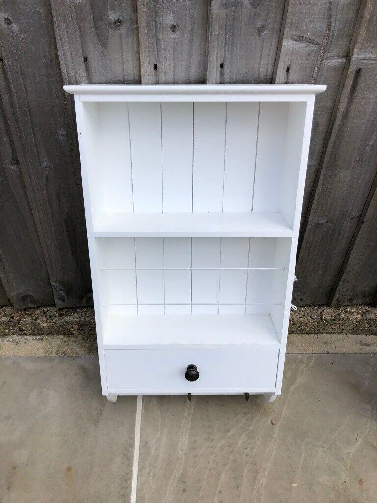 Narrow Hallway Storage Hallway White Shelf Unit With Drawer And Hooks In Raynes Park London Gumtree