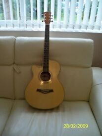 acoustic guitar and hard case good condition left handed