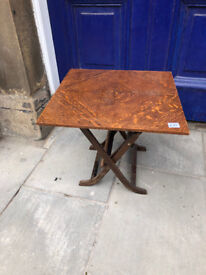 Wooden Side Table , that folds up onto side , so great space saver . Size L 20in W 20in H 18in