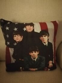 Brand New Beatles Cushion with American Flag