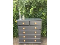 Farrow & Ball Dark Grey Painted Pine Chest Of Six Drawers Bedroom Living Room
