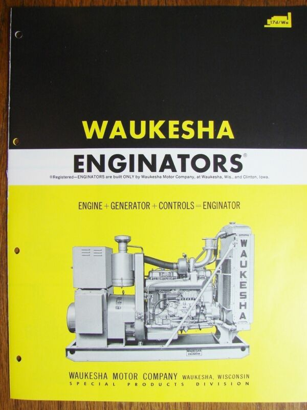 1961 WAUKESHA Motor Co ENGINATOR Engine Generator Controls Power Units Catalog