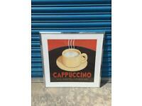 MARCO FABIANO CAPPUCCINO VIA DANTE FRAMED CHROME ART PRINT RARE JOHN LEWIS? SQUARE CAFE MANCAVE SDHC