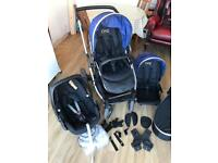 Oyster Max pushchair with Carrycot, Tandem Lower Seat, Blue Colour Pack & Maxicosi Pebble Car Seat