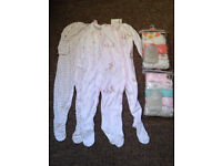 NEXT 3 PACK OF CUTE BUNNIES ALL IN ONE (babygros) and 2 Packs 5 baby Vests 12-18months BNWT