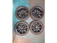 """Mini Black S-Lite S-Spoke alloy wheels 4 off 7Jx17"""" 215 45 17 nokian winter tyres"""