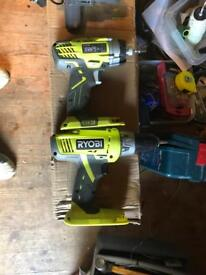 RYOBI power tools drill/impact gun battery /charger and case