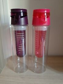 2x Water Bottles Pink and Purple