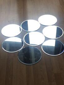 Large Round Mirror Plates x 8