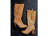 Sell 6cm heel leather boots - spanish brand Yokono Dallas 005 Women's Tall Boots Tan - YS18 (38)