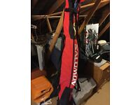 Salomon twin tip teneighty skiis, gun boots and Scott poles