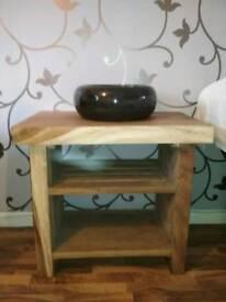 Solid wood vanity bench