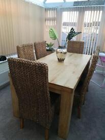 Wooden oak table & 6 chairs.