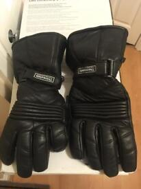Thermal and waterproof leather motorbike gloves