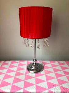 LAST CHANCE: Table Lamp - Red with silver base and sparkles