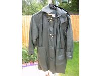 Ladies 3/4 length Green Leather Coat size 16