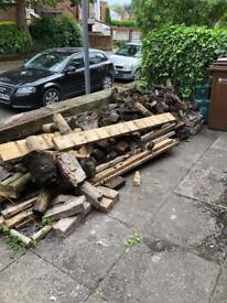 Bricks (rubble available) and wood FREE