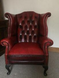Beautiful Oxblood Red Leather Chesterfield Queen Anne Chair