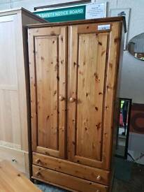 Pine double door wardrobe with two drawers