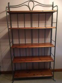 Pine/steel shelving unit