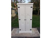 Wardrobe. Distressed antique white paint finish. Hand-painted