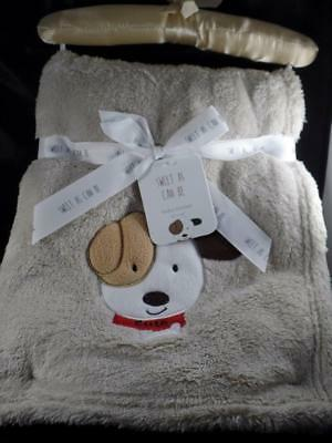 New SL Home Baby Boy's Beige Faux Fur Embellished Cute PUPPY DOG Blanket