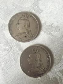 The Victoria Jubilee Head Silver Crowns (x 2) - Dated 1889 & 1890