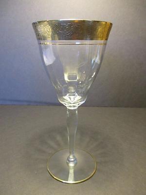 Tiffin Rambler Rose Pattern (Stem #15042) Crystal Gold Encrusted Water Goblet(s)