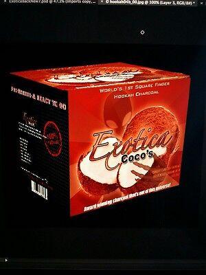 (2 boxes - 1.25kg Exotica Coco Coconut Natural Charcoal Coals Shisha 100pcs Nara)