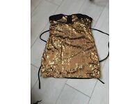 Black and gold sequins Mini dress/ long top