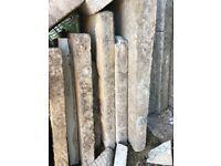 Concrete pavers. around eight or nine with some extra bits. Around 62 cms x 62 cms