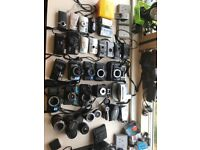 Vintage film cameras, lenses and video recorders