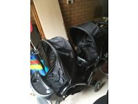 Double pushchair. Perfect condition only used once. It is suitable from newborn as it has carry cot