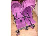 Double pushchair/buggy/stroller, purple 'Zeta Citi' very good condition